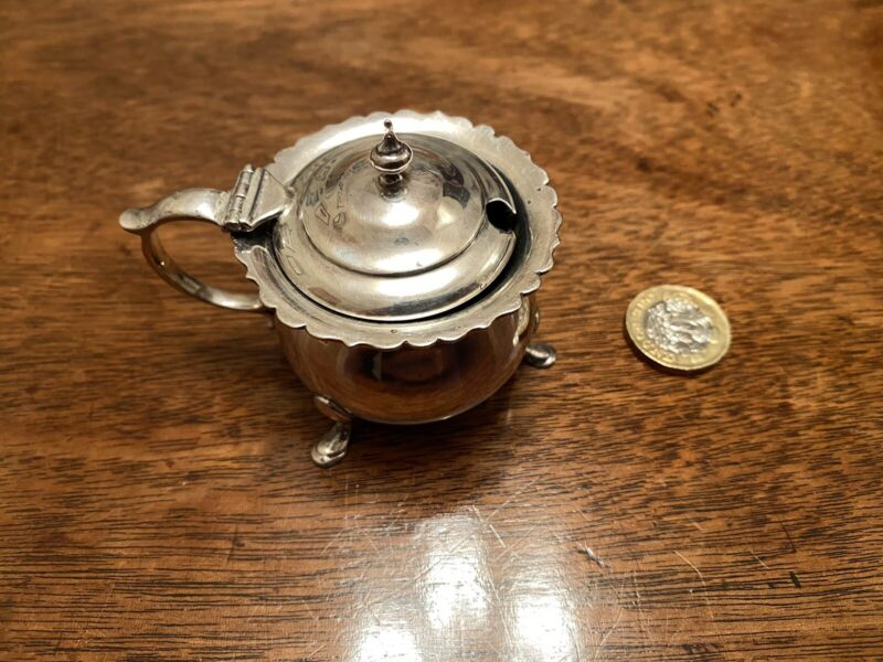 Chester Edwardian Silver Mustard Pot George Nathan & Ridley Hayes 1904 W Liner