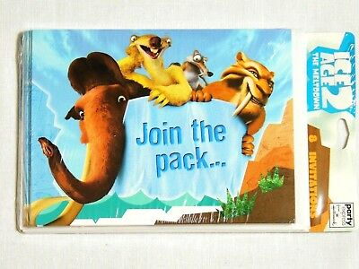 NEW  ICE AGE-2  THE MELTDOWN -8- INVITATIONS WITH ENVELOPES- PARTY SUPPLIES ()