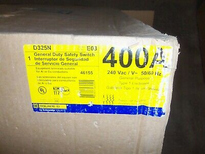 New Square D D325n 400 Amp 240v 3 Phase Fusible Safety Switch Disconnect