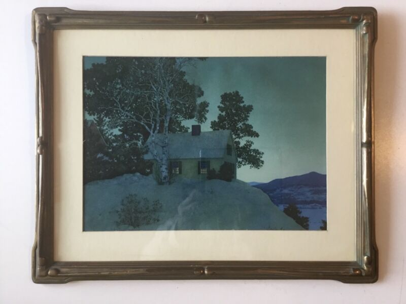 Maxfield Parrish EVENTIDE Print In Antique Arts and Crafts frame-Winter 1944