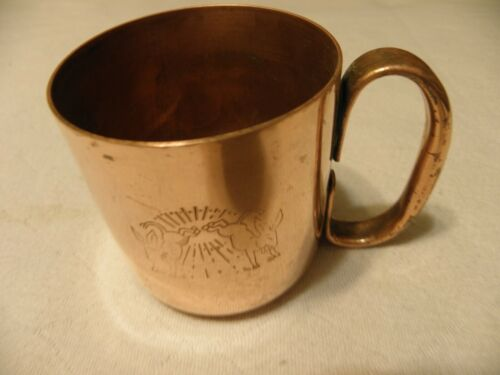 Vintage  solid copper Moscow mule kicking donkey mug by American Metalcraft