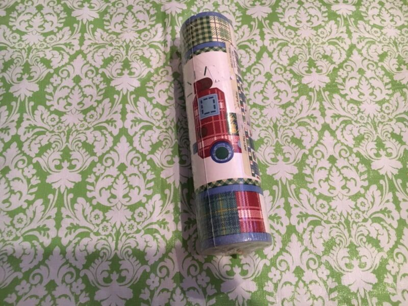 Kidsline Boys Wallpaper Border Plaids And Boats, Trains, Motorcycles 10 Yards