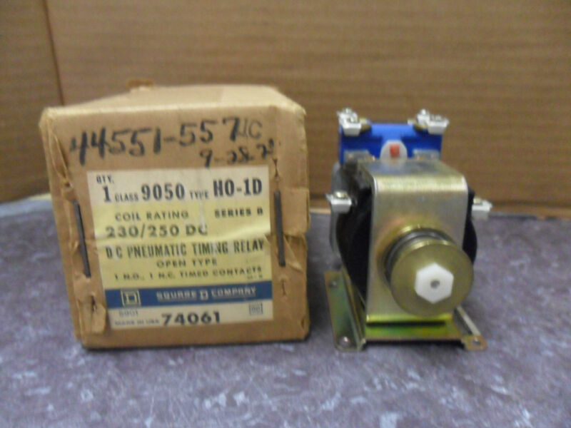 NEW SQUARE D 9050 HO-1D 230/250V D C PNEUMATIC TIMING RELAY  SERIES B NIB