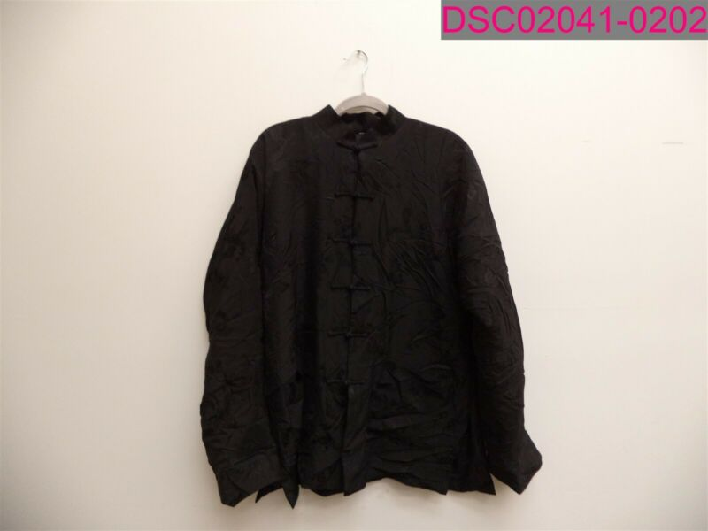 Asian Jacket Long Sleeve Dragon Detail Black Coat Size XL