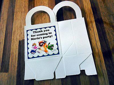 Super Mario Favor Boxes (12 SUPER MARIO loot boxes/bags birthday party favor treat, award, Nintendo Wii)