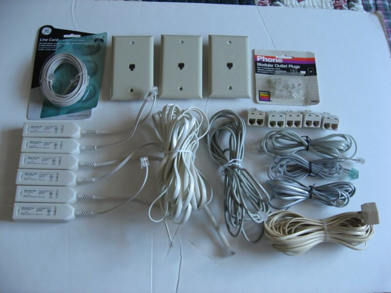 Mixed Lot Telephone Modem Fax Cords Splitters Line Filters Plugs Wall Plates