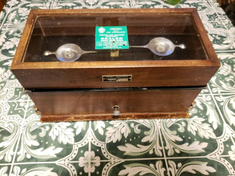 Antique Henry Troemner Pharmacist Scale Model 3042 Glass and Oak 4oz Apothecary