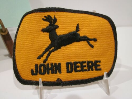 """VTG JOHN DEERE TRACTOR UNIFORM HAT PATCH EMBROIDERED ON TWILL 3 3/4"""" X 2 3/4"""""""