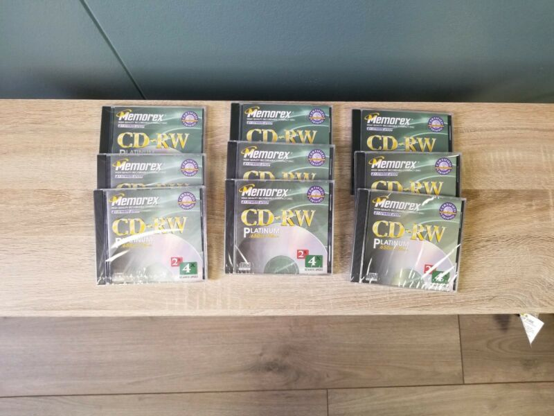 NEW Memorex CD-RW Platinum 650MB 74 min CD-RW High Quality Recordable CD 9 Pack