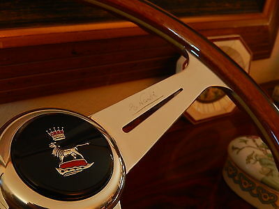"Sunbeam Alpine Tiger Wood Steering Wheel 15.3"" NARDI NOS Orig Horn Push Hub Boss"