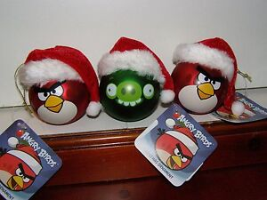 Set of 3  NEW ANGRY BIRDS  CHRISTMAS ORNAMENTS