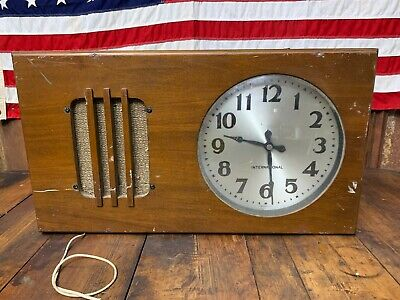 "Antique 1939 Schoolhouse International IBM 10"" Wood Wall Clock PA Speaker"