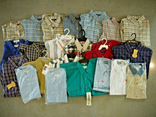 Wholesale Lot 22 NOS Plaid/Solid Western Work Wear Shirt Deadstock Mens Womens