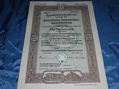 301 :histor. Wertpapier , Hypo Bank Braunschweig - Hannover , 31. März 1939 ,500