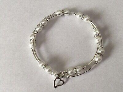 NICE! White Pearl Bead Double Wire Wrap Silver Bracelet Bangle w/charm FREE SHIP