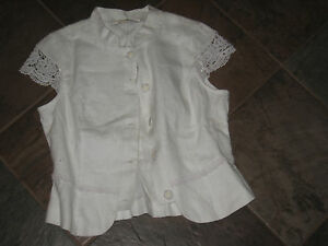 NOUGAT LONDON CPA SLEEVE LINEN WHITE SHIRT  SIZE 1  NWT