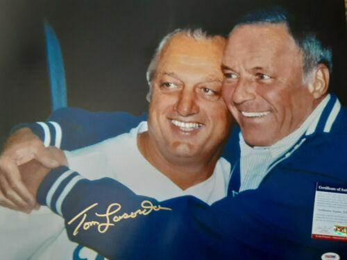 LA Dodgers Tommy Lasorda  autographed 16x20  photo with Frank Sinatra PSA DNA