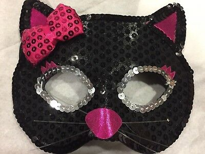 Cat Mask Kitty Sequin Eye Costume Eyemask Halloween Party Accessories USA! girls