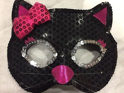 Cat Mask Kitty Sequin Eye Costume Eyemask Halloween Party Accessories USA! girls - Cat Costume Accessories