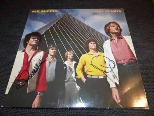 """AIR SUPPLY signed Autogramm auf """"LOST IN LOVE"""" Vinyl Platte LP InPerson LOOK"""
