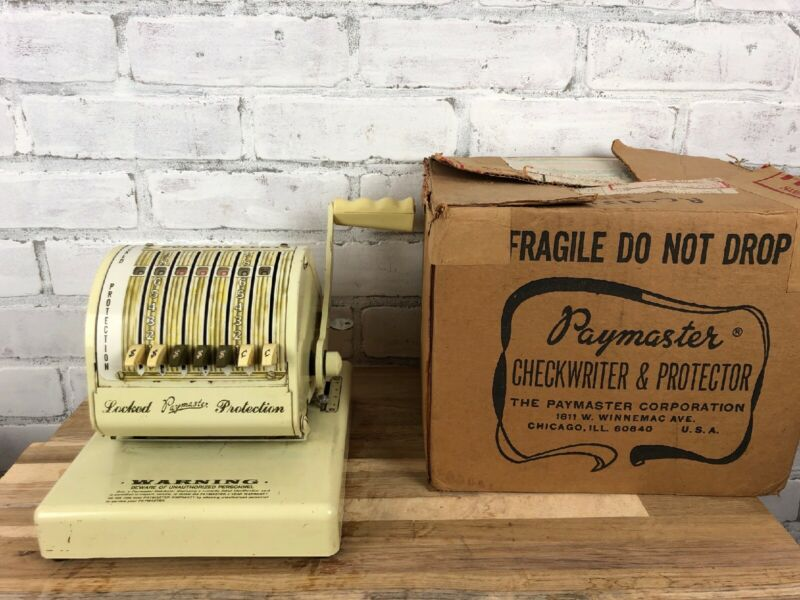 Vintage Paymaster Check Writer With Key Series X-550