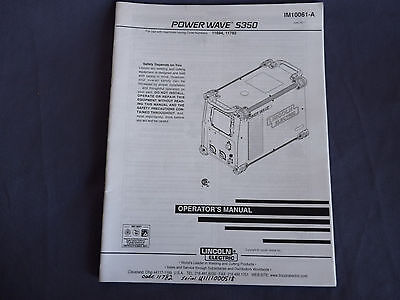 Lincoln Electric Welding Power Wave S350 Operators Manual 11694 11782 Im10061-a