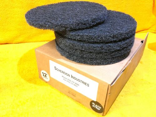 """NEW    CASE OF (5) SOVEREIGN INDUSTRIES 12"""" BLACK STRIP STRIPPING FLOOR PADS"""