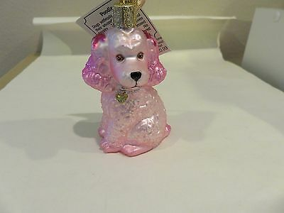 Pink Poodle Old World Christmas glass ornament