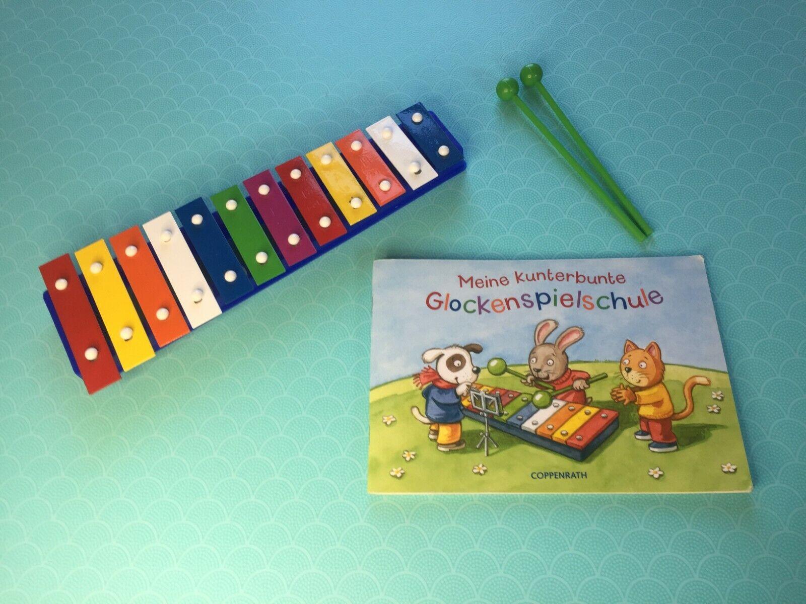 Kinder Xylophon Glockenspiel 12 Töne mit Glockenspielschule