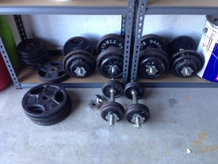 6 Dumbells with 95kg weight plates Shell Cove Shellharbour Area Preview