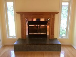 Manteau foyer en bois à vendre   Wood fireplace mantel for sale