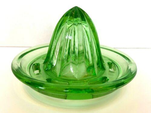 Vintage Green Uranium Vaseline Glass Depression Glass Citrus Juicer Reamer