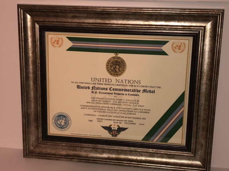U.N. TRANSITIONAL AUTHORITY IN CAMBODIA COMMEMORATIVE MEDAL CERTIFICATE ~ Type 1