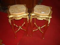 Elegante Coppia Di Tavolini A Ghiridon Dorati -  - ebay.it