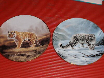 2 COLLECTOR'S PLATES BIG CATS ROYAL BENGAL TIGER   SNOW LEOPARD C. FRACE 1991