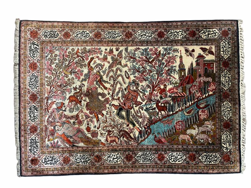 Silk Rug 4x6 Pictorial Rug Highly Detailed Rug Birds Flowers River Lovers Rug