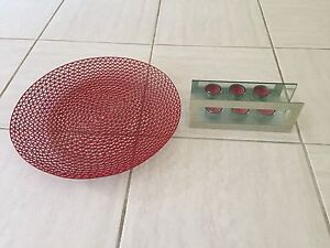 Red Fruit bowl and Candle Holder Redland Bay Redland Area Preview