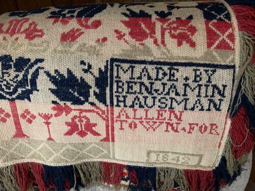Antique 1842 Signed Hausman Allentown PA TriColor Coverlet Jacquard Smithsonian