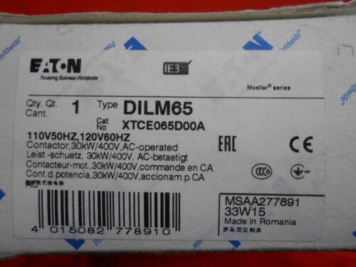 EATON XTCE065D00A AC Non-Reversing IEC Contactors  3-P N/O 120VAC  65A - NEW