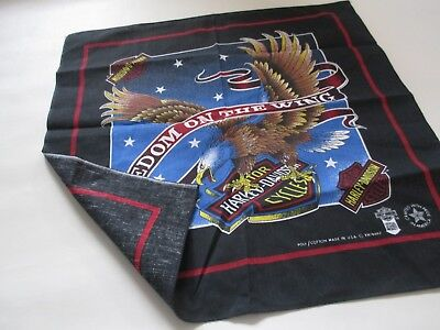 VINTAGE HARLEY DAVIDSON Freedom On The Wings Black Bandana Head Wrap