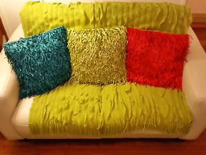 3 Rapee shag style cushions  lime green teal, kas ruffle throw Drummoyne Canada Bay Area Preview