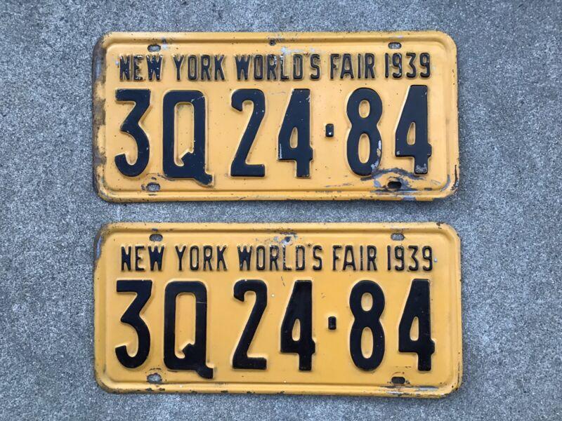( 2 ) - MATCHING PAIR 1939 NEW YORK LICENSE PLATES