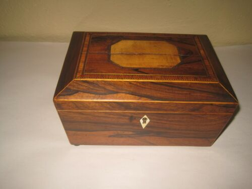 Antique Georgian Inlaid Rosewood Box With Brass Handles & Ivory Escutcheon