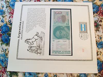 Argentina Banknote 1 Austral 1985 P323a Unc W Un Fdi Flag Stamp 8 Digit Serial B