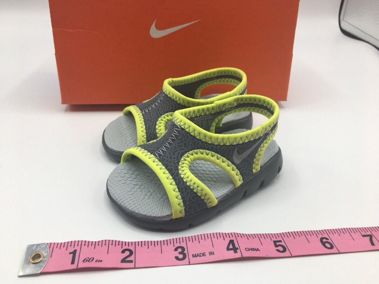 Nike Sunray 9 (TD) Size 2C BABY Toddler Shoe Dark Grey/Grey/Volt New without box