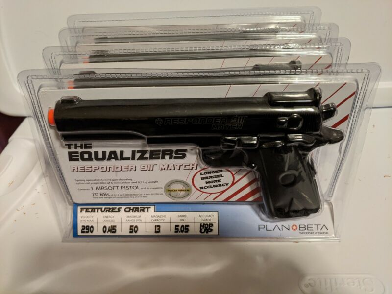 Lot of 4 - Plan Beta The Equalizers Responder 911 Match Airsoft Pistols
