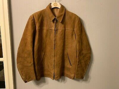 VINTAGE 40's SWEDISH AKTA GETSKINN DISTRESSED CYCLIST LEATHER JACKET SIZE UK M