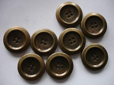 5 Knöpfe Metall altgoldfarben 17mm 4-Loch W76.1
