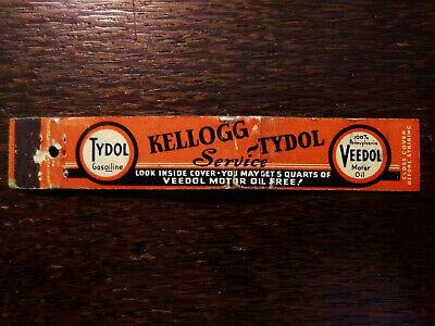 Vintage Matchcover: Kellogg Tydol Gas & Oil Gasoiline Veedol 10 Strike SP