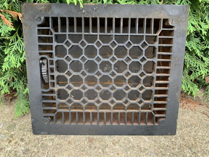 Extra Heavy CAST IRON Ornate Louvered Working HEAT Grate Antique Window Vent